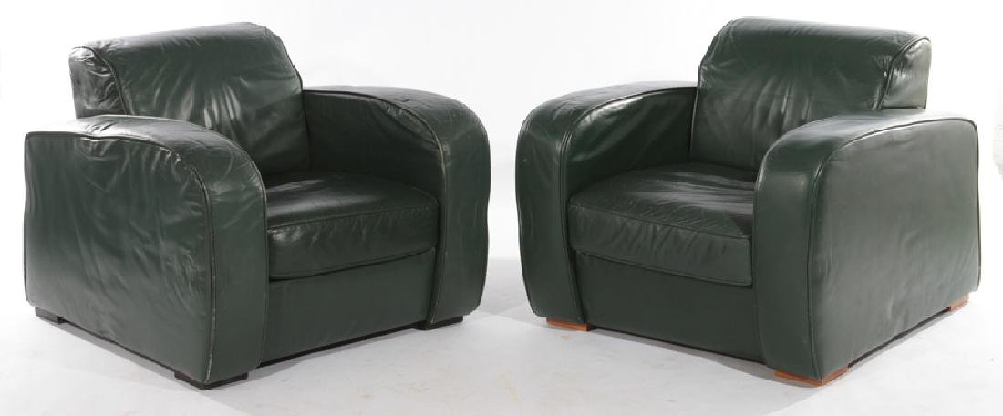 PAIR FRENCH ART DECO STYLE LEATHER CLUB CHAIRS
