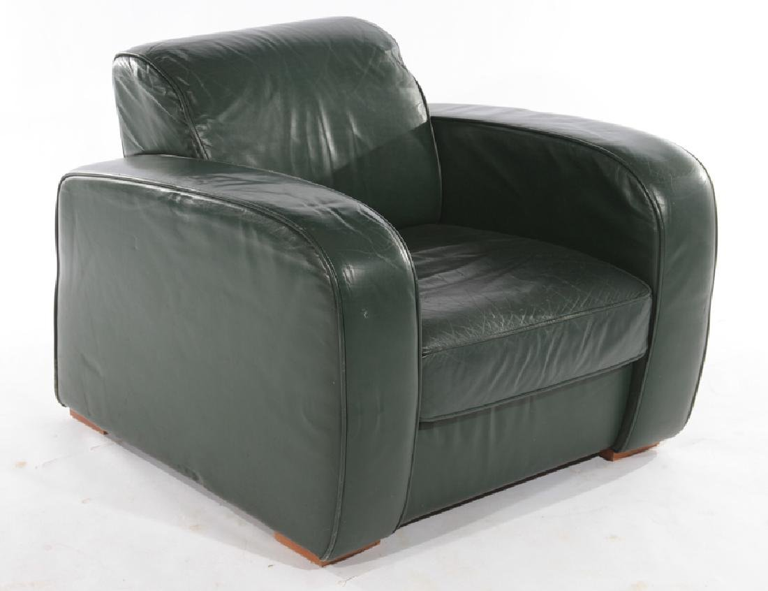 PAIR FRENCH ART DECO STYLE LEATHER CLUB CHAIRS - 2