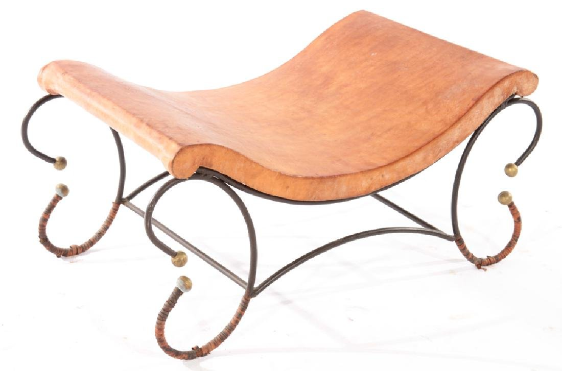 BENCH SHAPED LEATHER SEAT WROUGHT IRON BASE