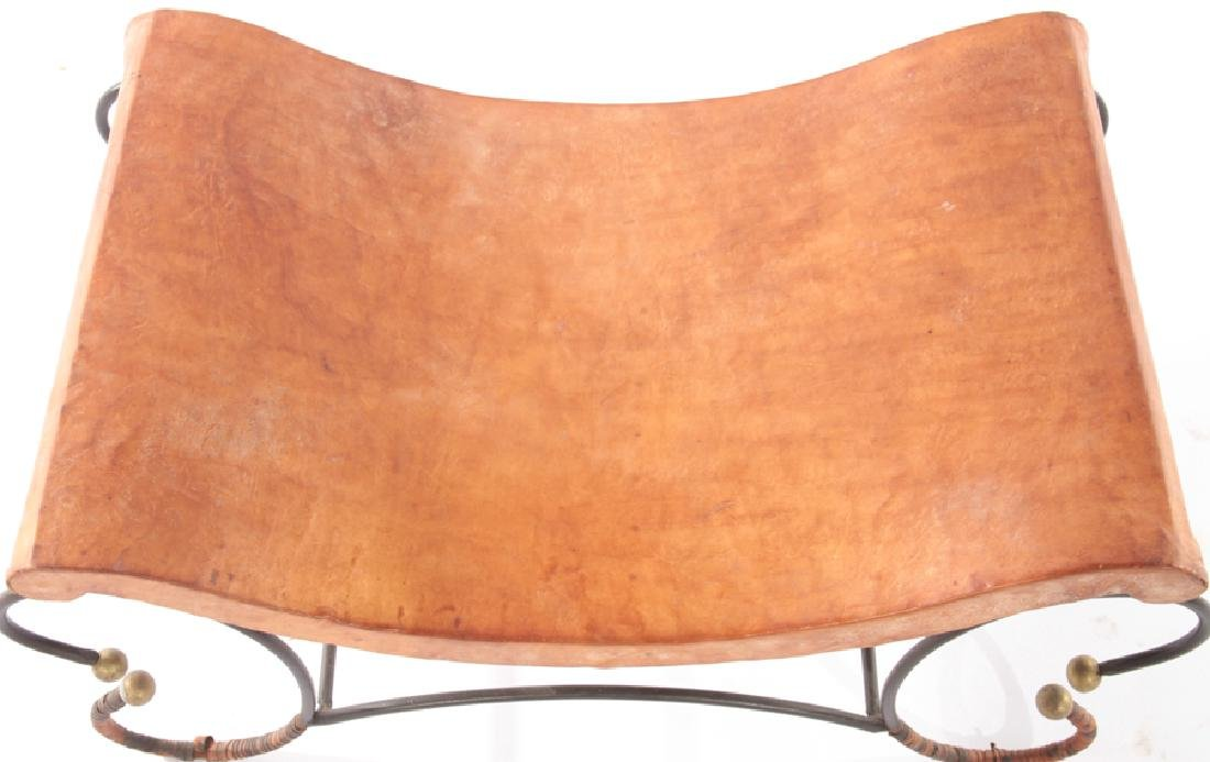 BENCH SHAPED LEATHER SEAT WROUGHT IRON BASE - 3