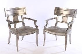 PAIR OF EARLY 20TH CENT. EMPIRE GILT WOOD CHAIRS