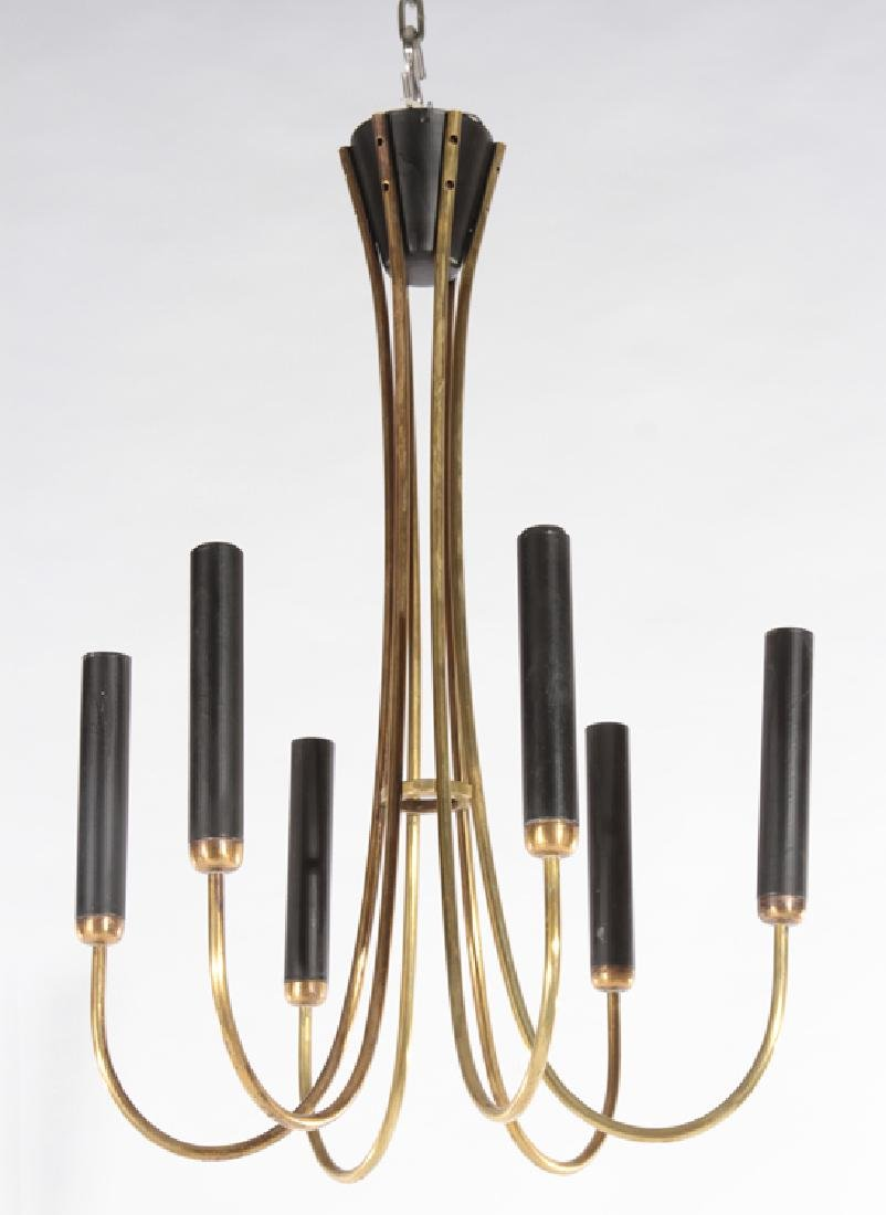 ITALIAN MODERN BRASS 6 ARM CHANDELIER 1970