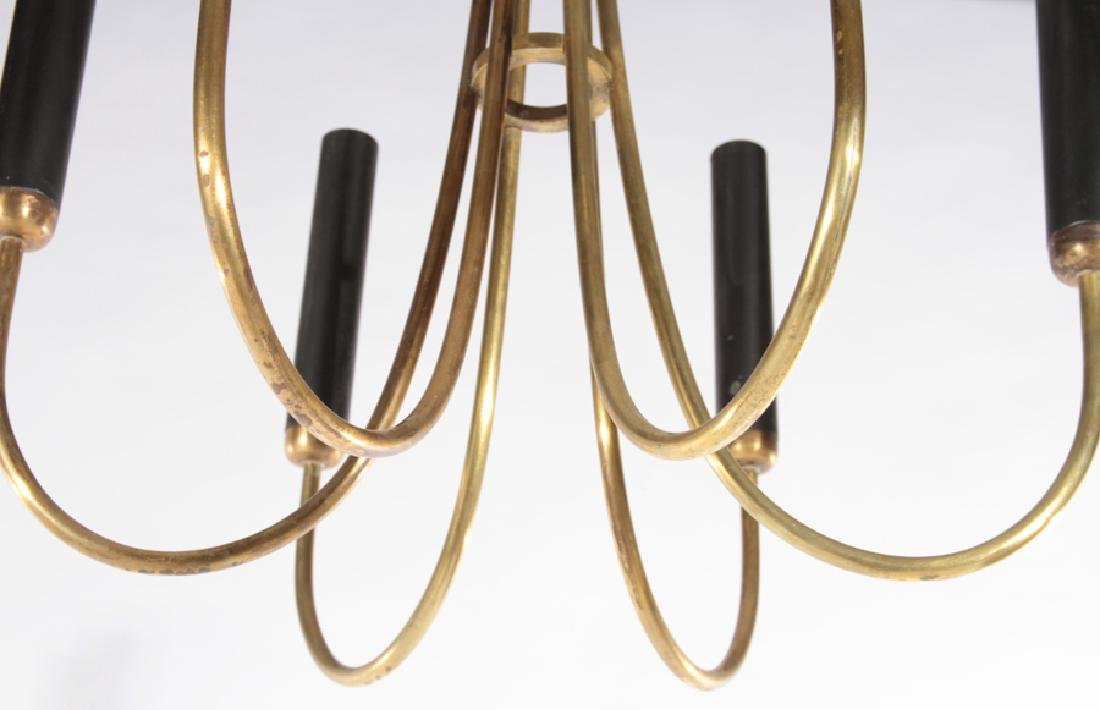ITALIAN MODERN BRASS 6 ARM CHANDELIER 1970 - 4