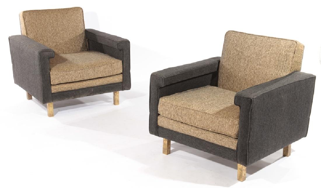 PAIR MID CENTURY MODERN UPHOLSTERED CLUB CHAIRS