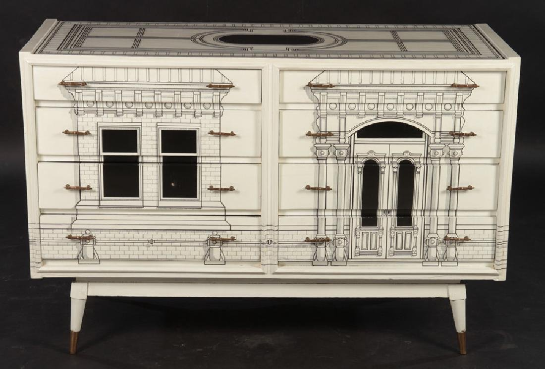 FORNASETTI STYLE 8 DRAWER COMMODE 1960