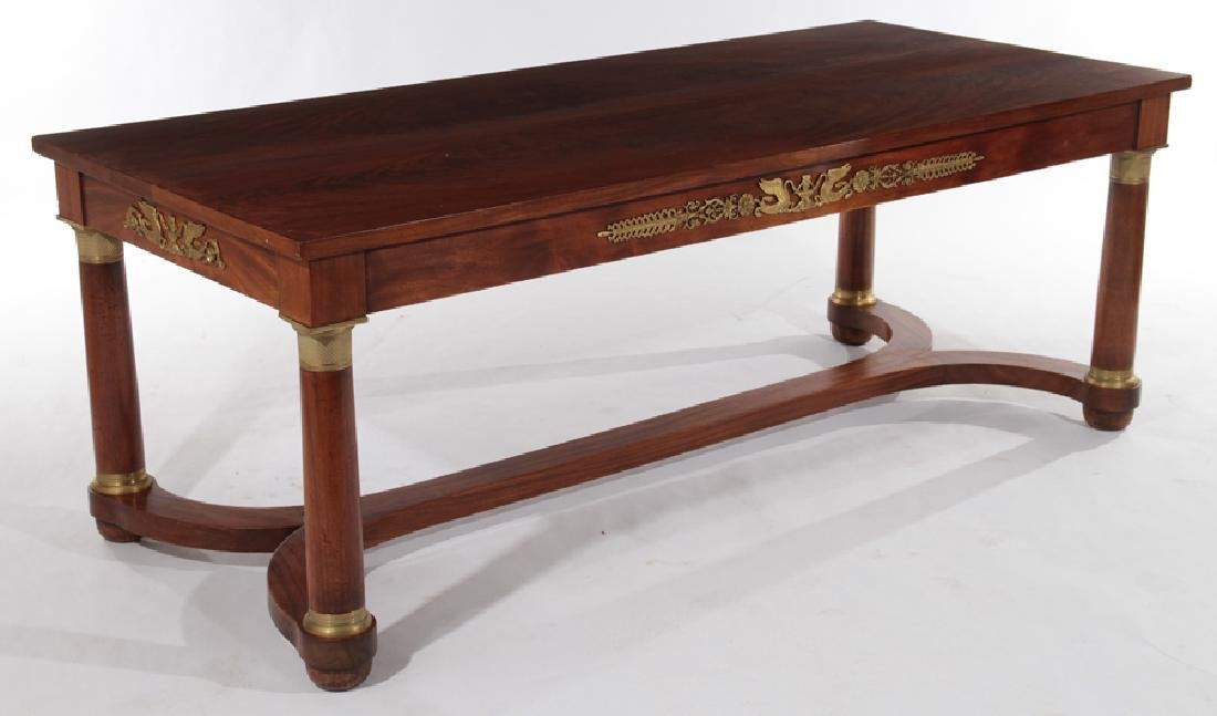 FRENCH EMPIRE STYLE BRONZE MOUNTED LIBRARY TABLE
