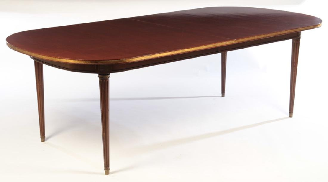 JANSEN LOUIS XVI  MAHOGANY DINING TABLE  EXTENDS TO 13-