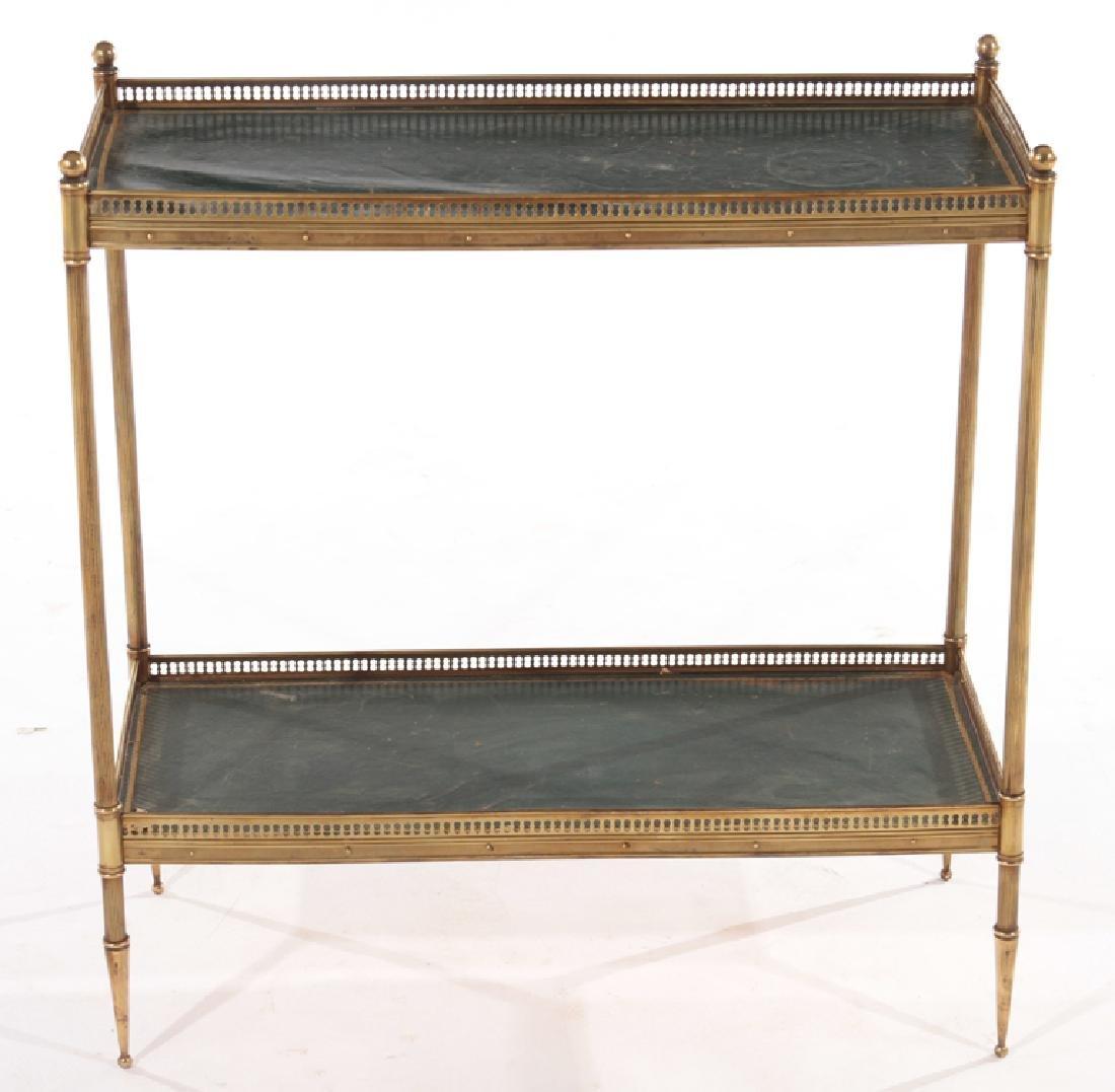 JANSEN STYLE BRASS TWO TIER SIDE TABLE C.1950 - 2