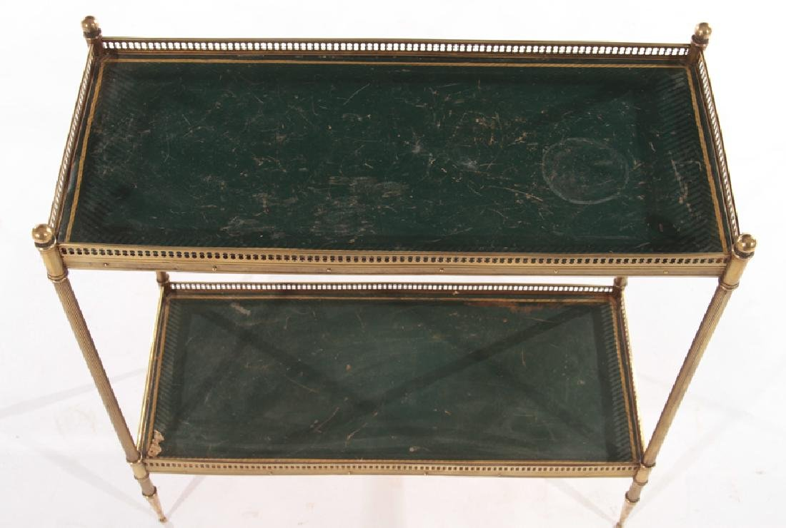 JANSEN STYLE BRASS TWO TIER SIDE TABLE C.1950 - 3