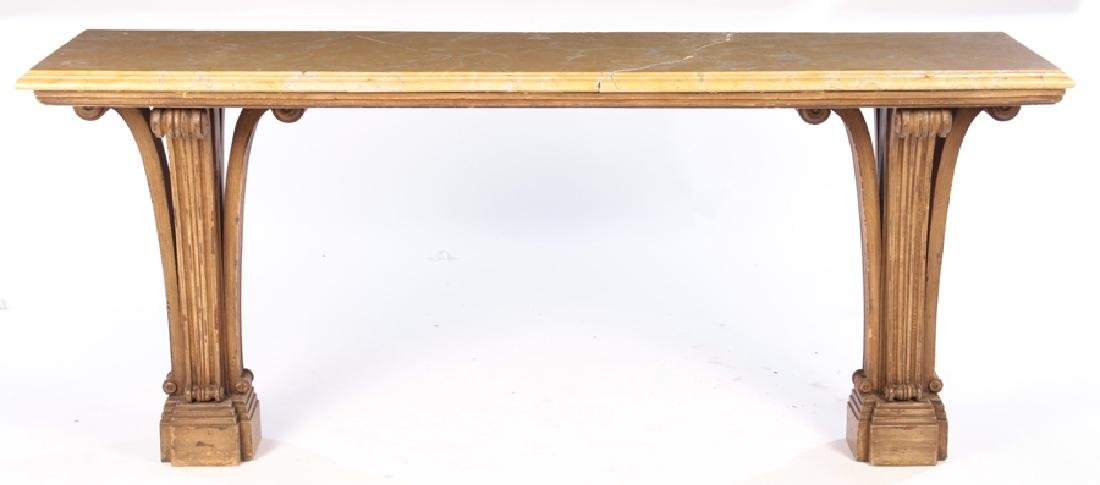 PAINTED CARVED JANSEN MARBLE TOP CONSOLE 1950
