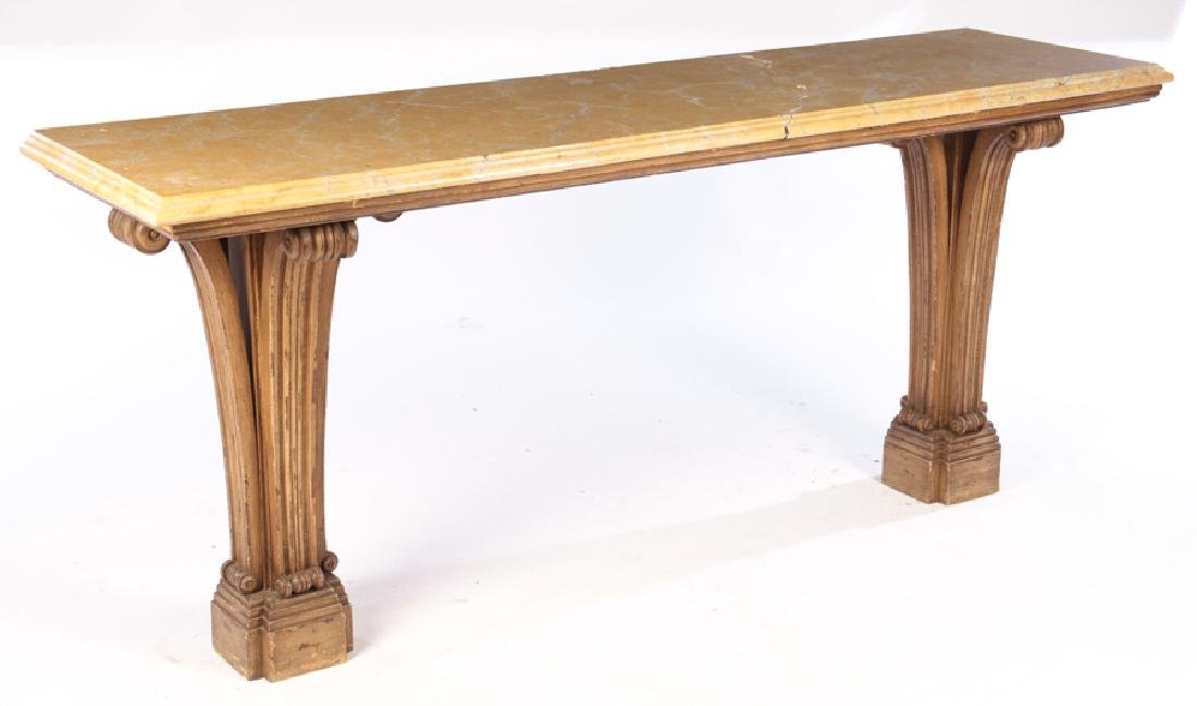 PAINTED CARVED JANSEN MARBLE TOP CONSOLE 1950 - 2