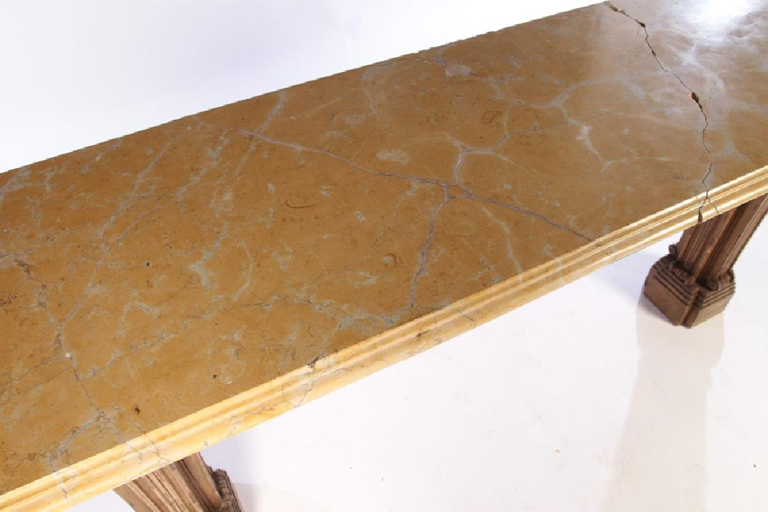 PAINTED CARVED JANSEN MARBLE TOP CONSOLE 1950 - 3