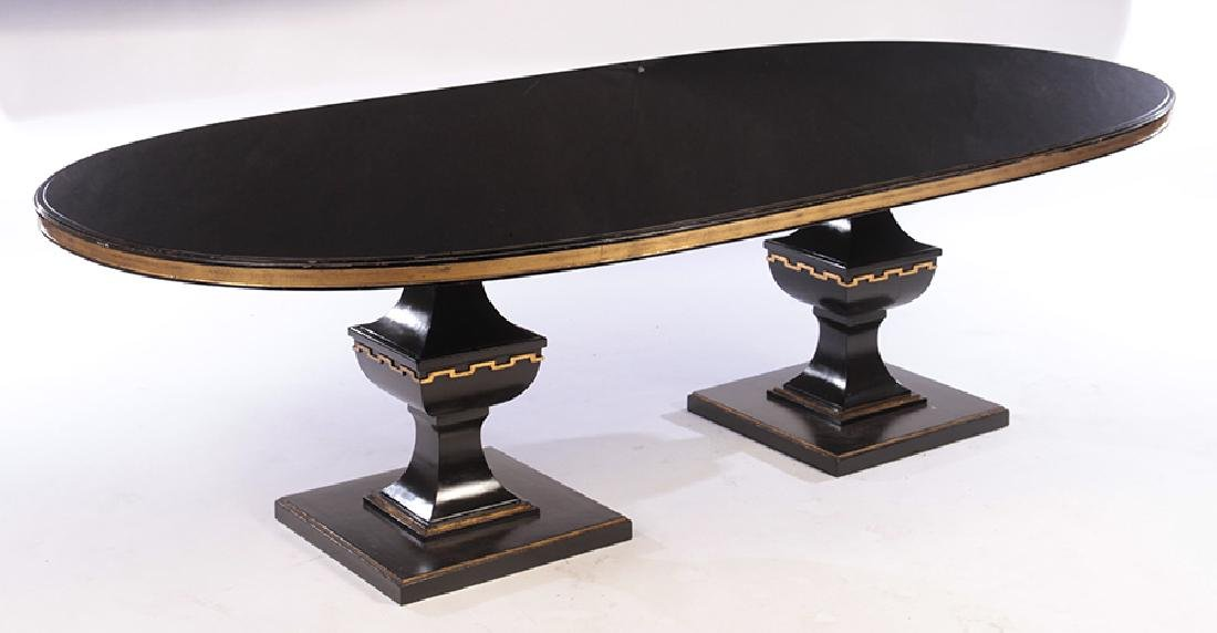 LARGE OVAL DOUBLE PEDESTAL DINING TABLE 1950