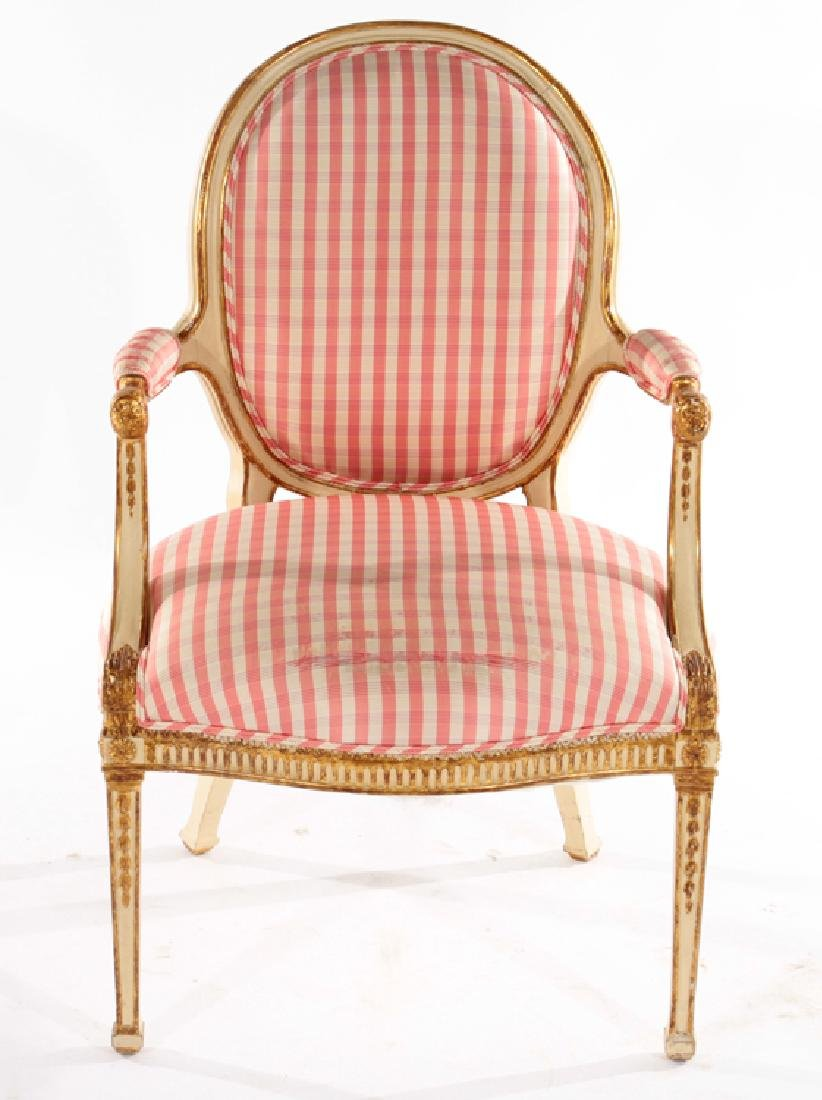 CONTINENTAL GILTWOOD CARVED PAINTED ARM CHAIR - 2