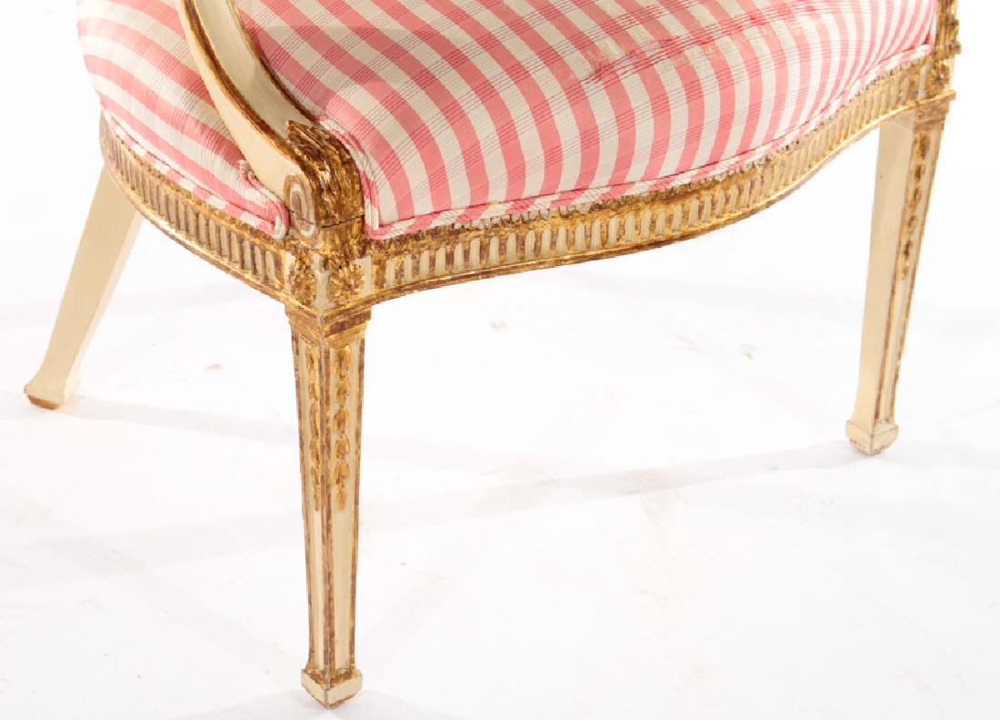 CONTINENTAL GILTWOOD CARVED PAINTED ARM CHAIR - 4