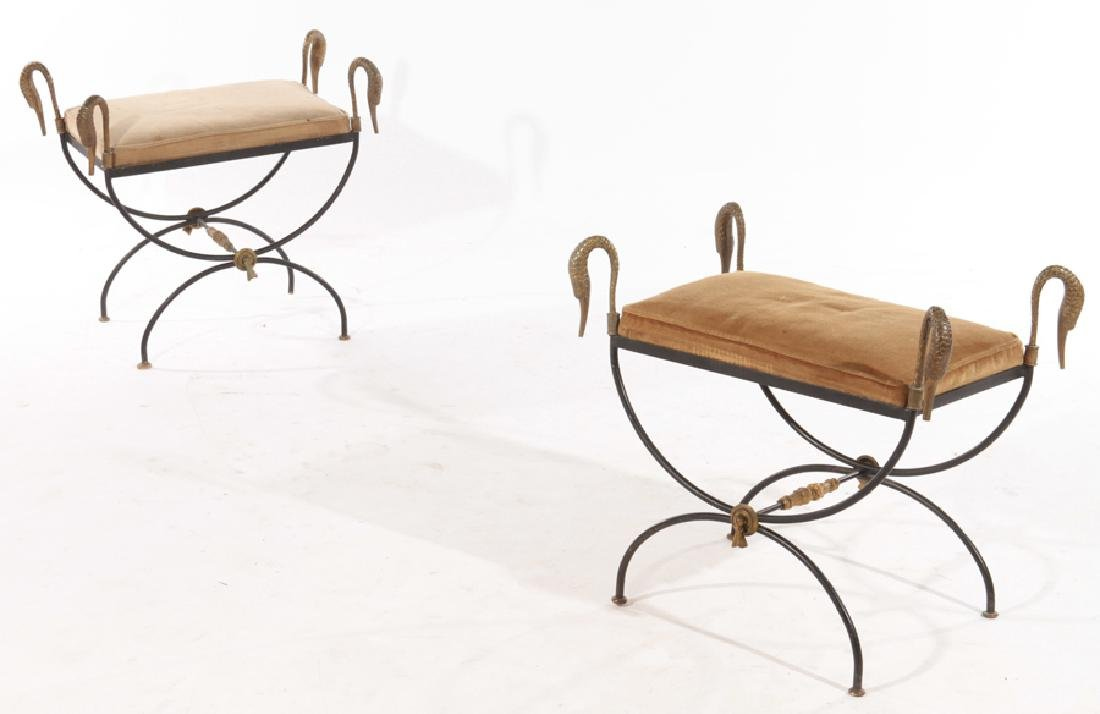 PR REGENCY STYLE WROUGHT IRON BENCHES 1960