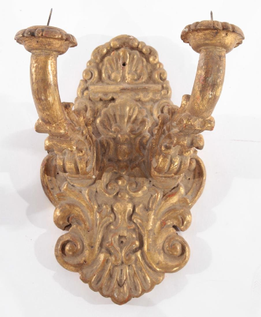 PAIR OF CONTINENTAL CARVED GILTWOOD SCONCES - 2