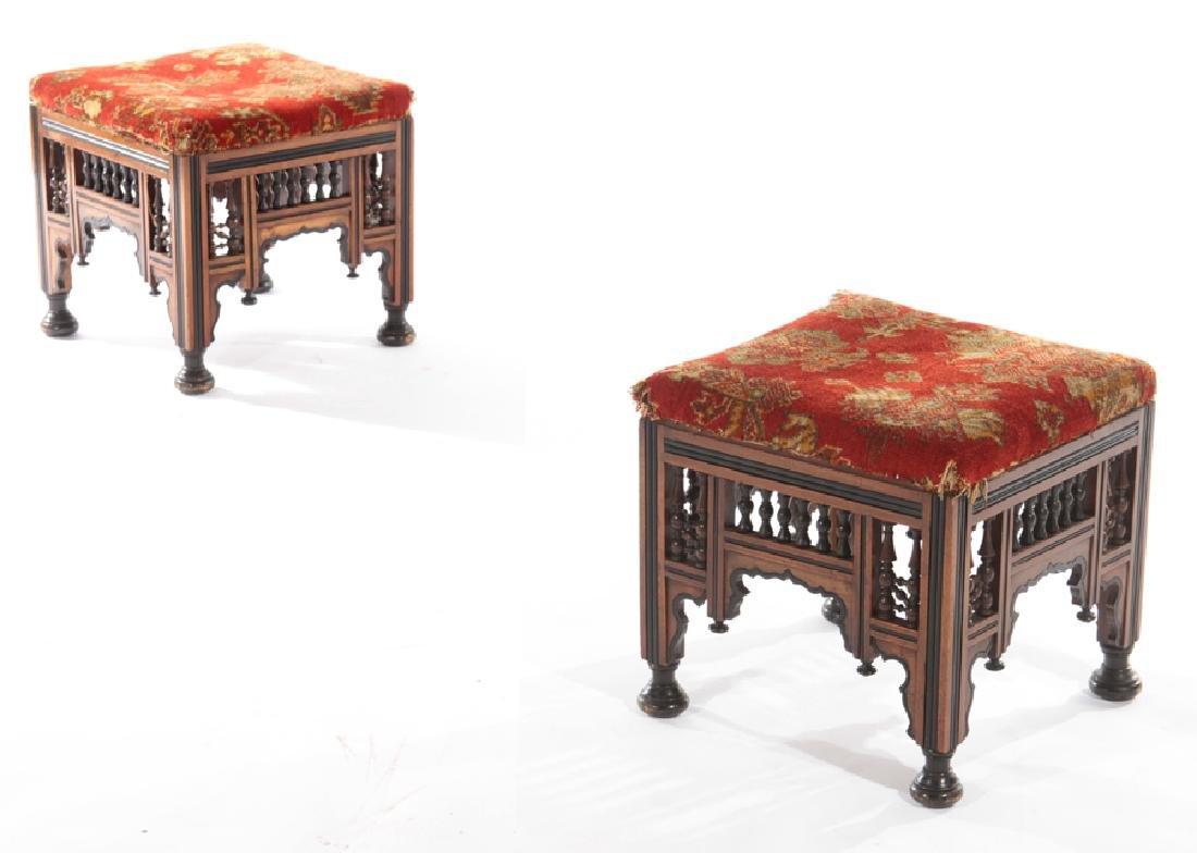 PAIR SYRIAN CARVED EBONIZED STOOLS BENCHES 1910