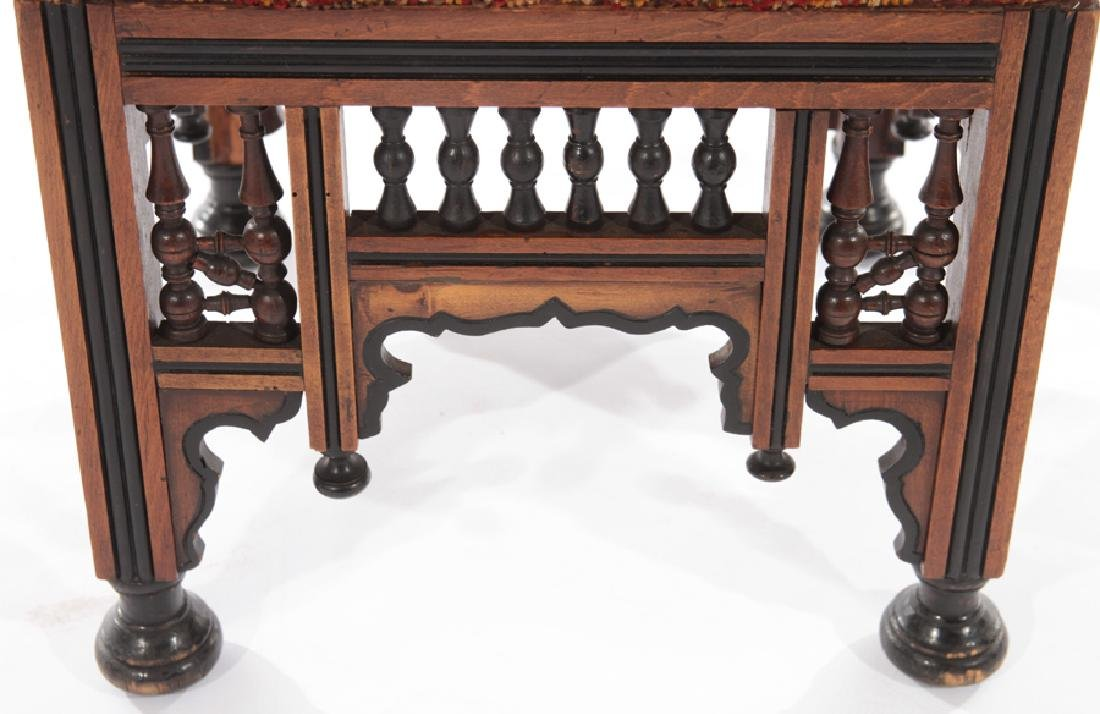 PAIR SYRIAN CARVED EBONIZED STOOLS BENCHES 1910 - 4