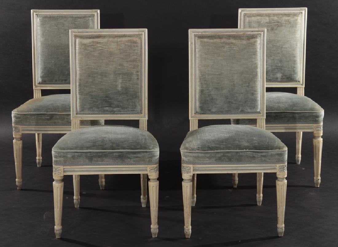 SET 4 FRENCH LOUIS XVI CARVED DINING CHAIRS 1940