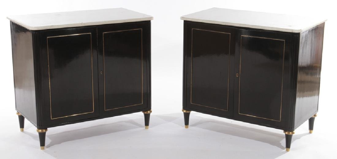 PAIR OF EBONIZED MARBLE TOP CABINETS C.1940