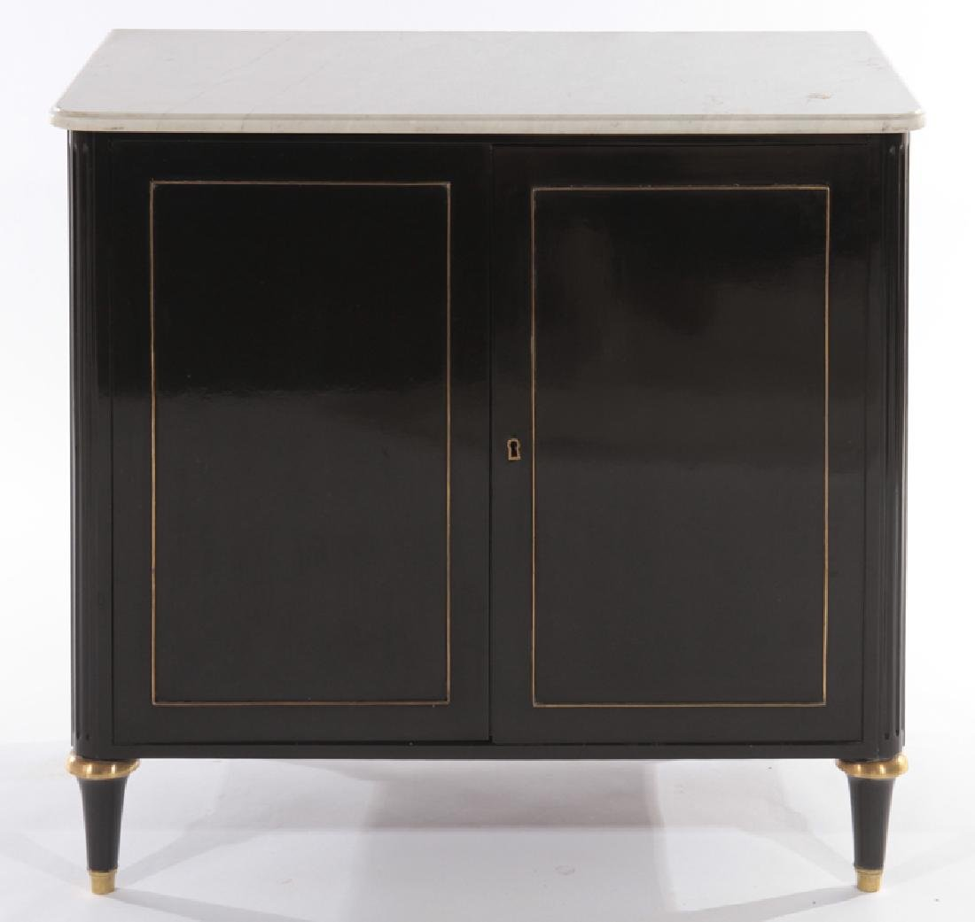 PAIR OF EBONIZED MARBLE TOP CABINETS C.1940 - 2