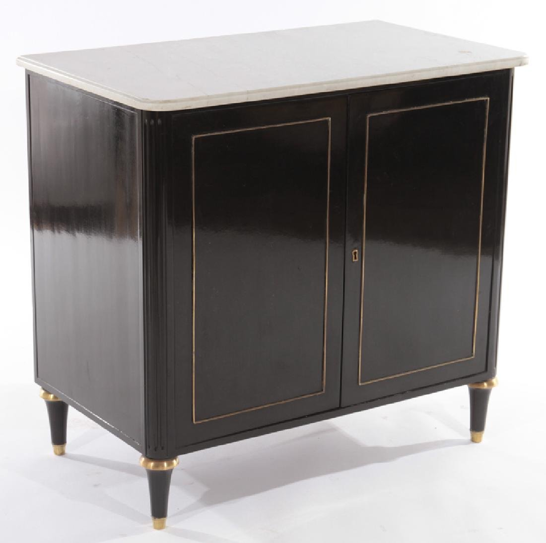 PAIR OF EBONIZED MARBLE TOP CABINETS C.1940 - 3