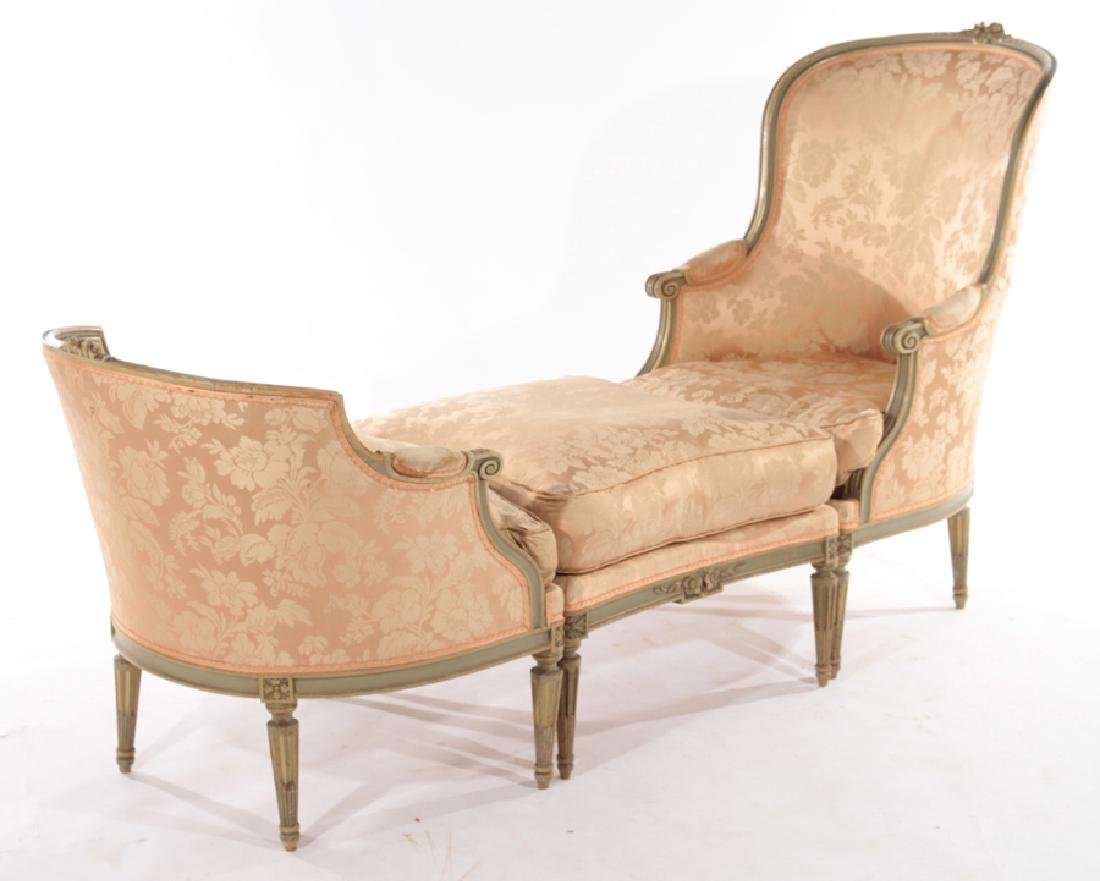 FRENCH LOUIS XVI CARVED 3 PART RECAMIER 1910