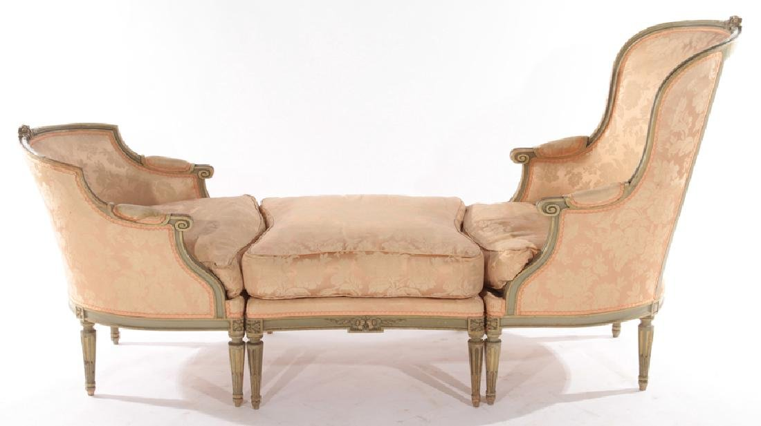 FRENCH LOUIS XVI CARVED 3 PART RECAMIER 1910 - 2