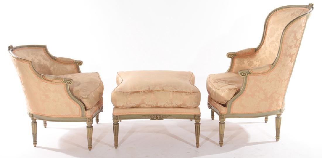 FRENCH LOUIS XVI CARVED 3 PART RECAMIER 1910 - 3
