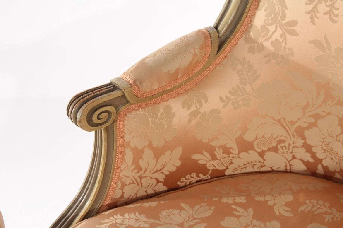 FRENCH LOUIS XVI CARVED 3 PART RECAMIER 1910 - 5