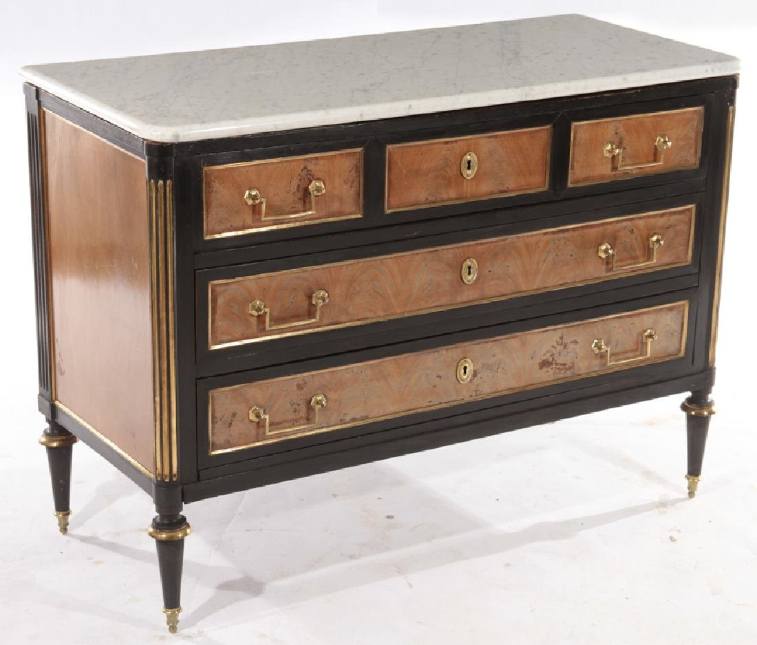 FRENCH DIRECTOIRE STYLE EBONIZED WALNUT COMMODE - 2