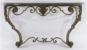 CONTINENTAL WROUGHT IRON CONSOLE MARBLE TOP 1910