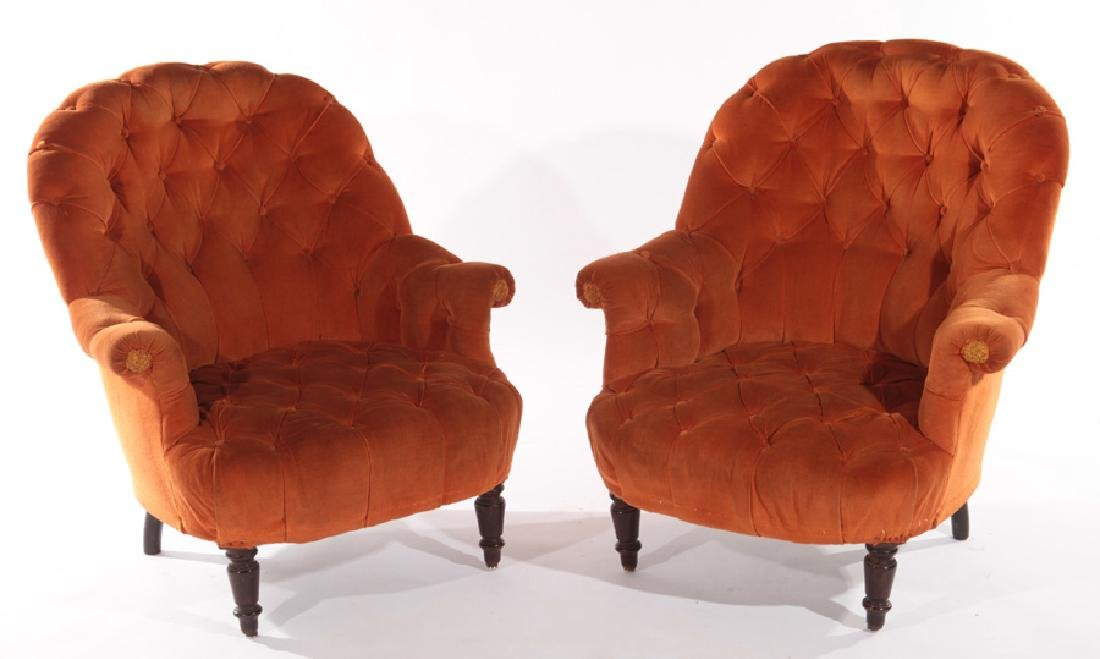 PAIR OF FRENCH NAPOLEON III CLUB CHAIRS C.1910