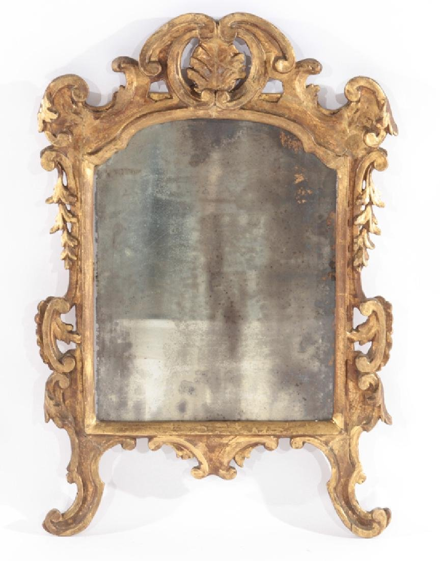 19TH CENT. CONTINENTAL GILT WOOD GESSO MIRROR