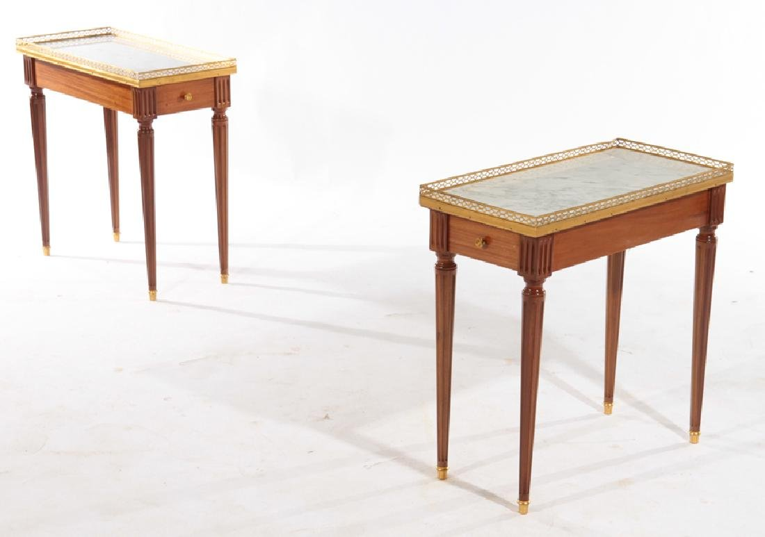 PAIR LOUIS XVI STYLE SIDE TABLES MARBLE TOP