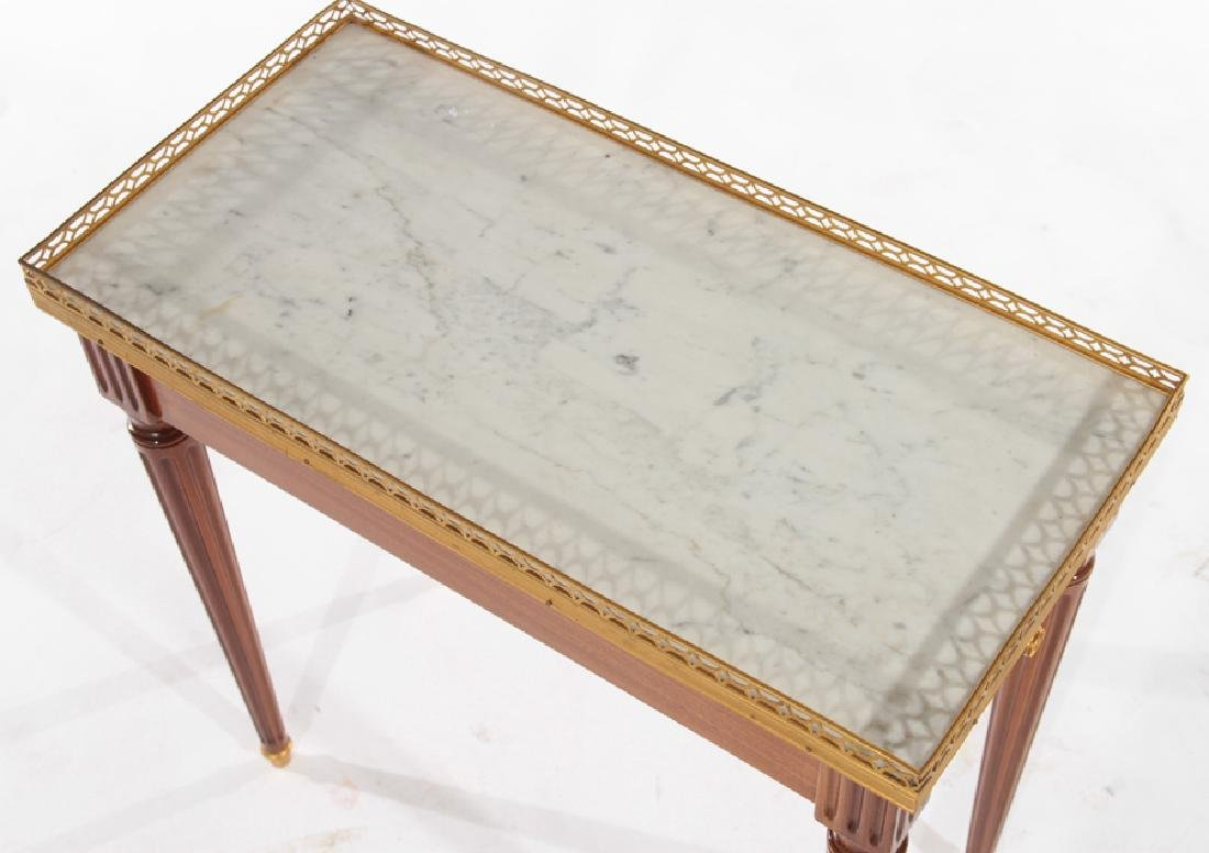 PAIR LOUIS XVI STYLE SIDE TABLES MARBLE TOP - 4