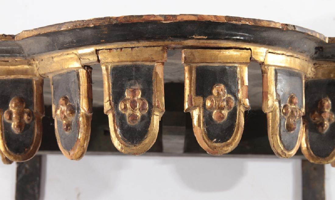 ITALIAN 19TH CENT. GILT WOOD CARVED PAINTED SHELF - 4
