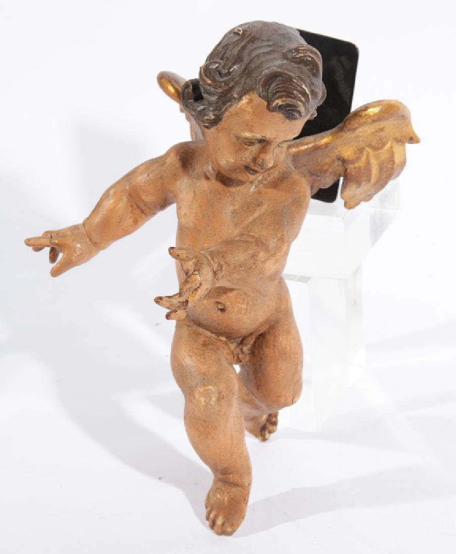 19TH CENT. ITALIAN GILT WOOD CARVED WINGED PUTTI