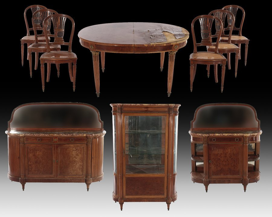 TEN PIECE FRENCH DIRECTOIRE STYLE DINING ROOM SET C1900