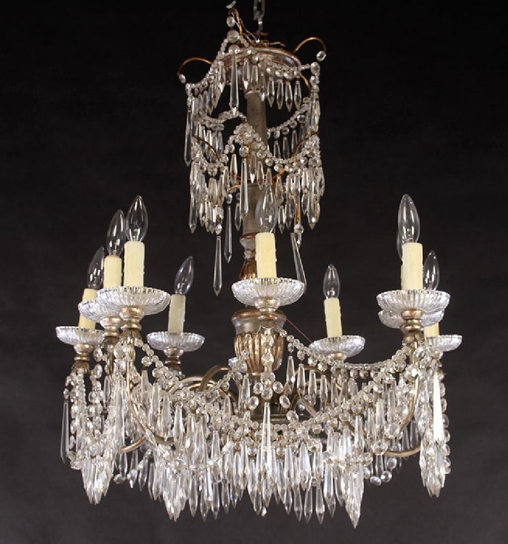 SILVER GILTWOOD PAINTED CHANDELIER 10 ARMS 1900