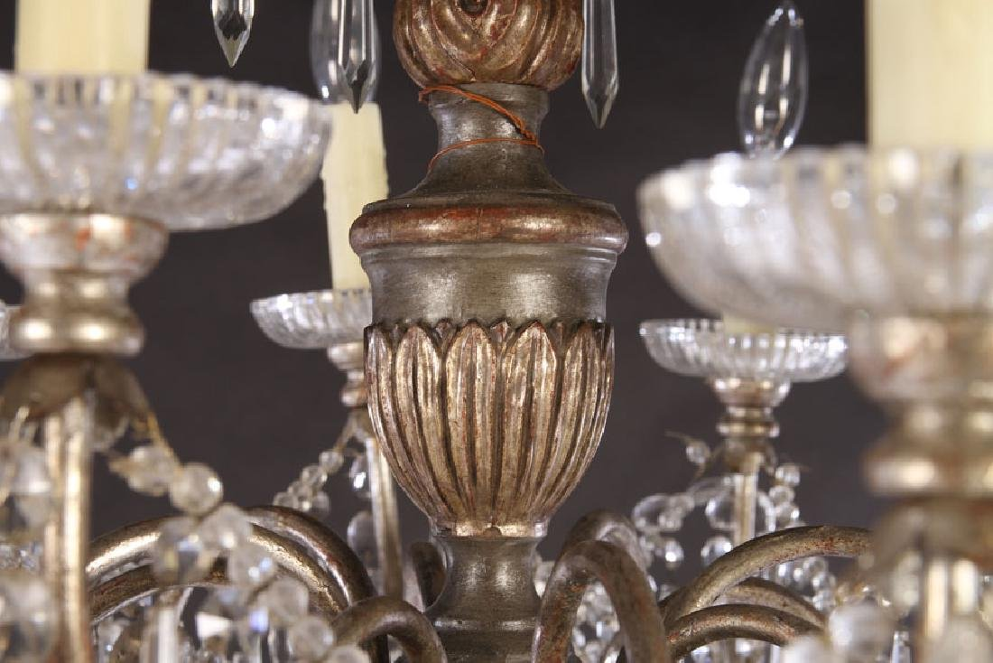 SILVER GILTWOOD PAINTED CHANDELIER 10 ARMS 1900 - 3