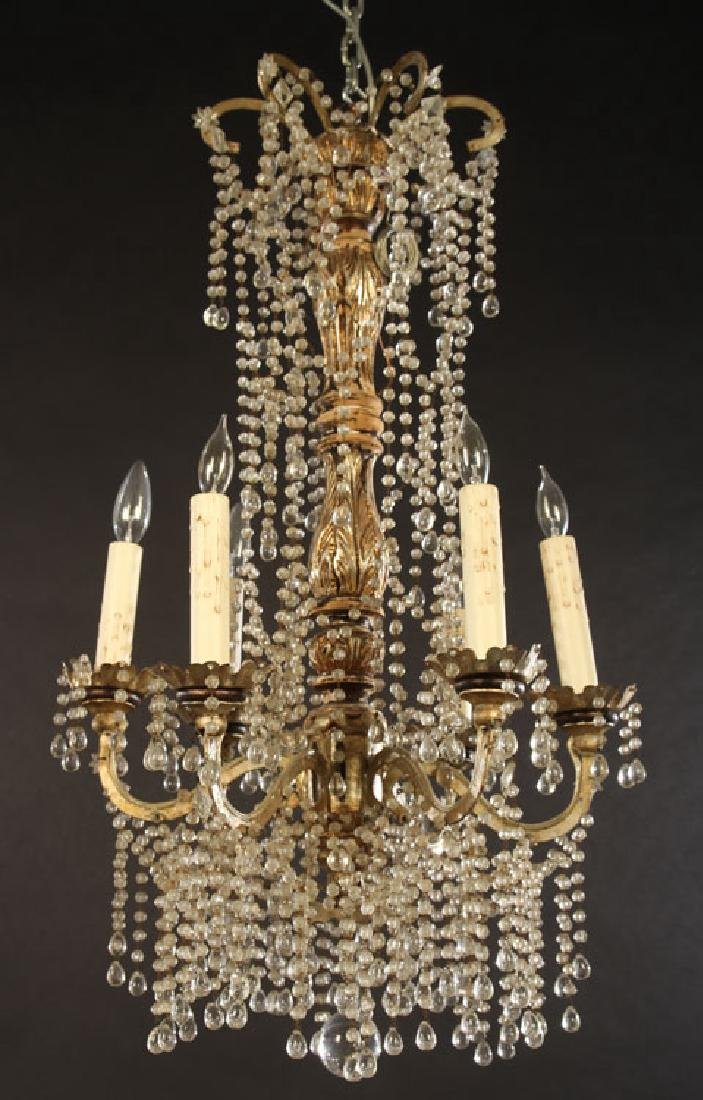 ITALIAN SILVER GILTWOOD CHANDELIER 6 IRON ARMS