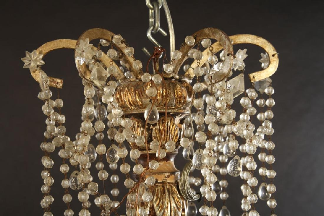 ITALIAN SILVER GILTWOOD CHANDELIER 6 IRON ARMS - 2