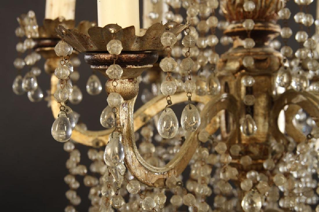 ITALIAN SILVER GILTWOOD CHANDELIER 6 IRON ARMS - 4