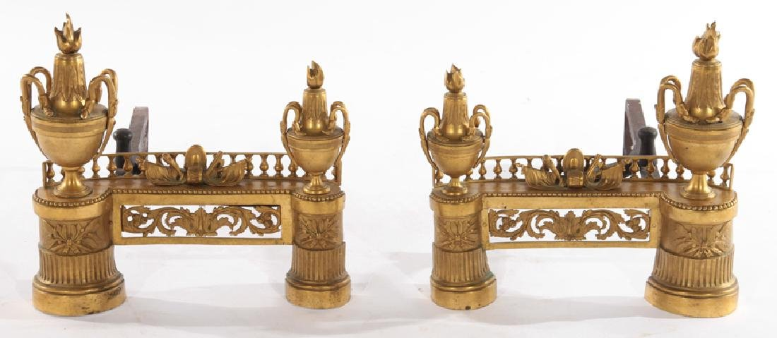 PAIR OF FRENCH EMPIRE STYLE GILT BRONZE CHENETS