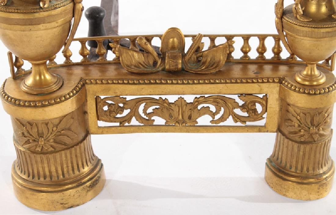 PAIR OF FRENCH EMPIRE STYLE GILT BRONZE CHENETS - 4