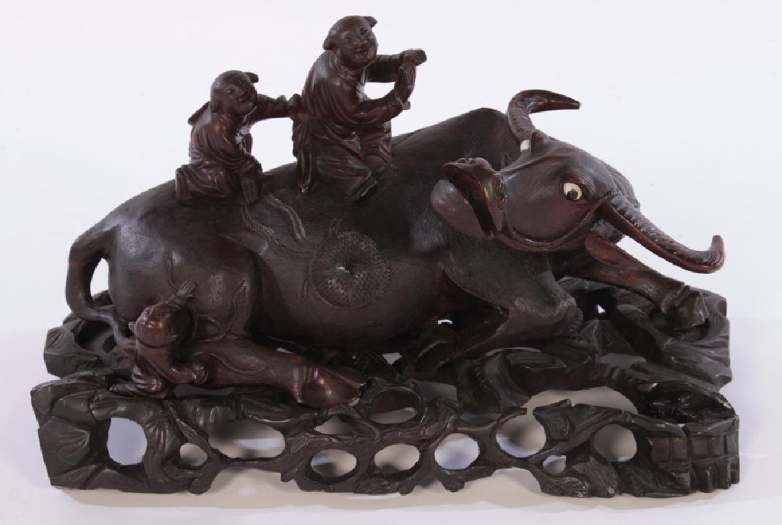ANTIQUE CHINESE WOOD CARVING DEPICTING AN OX