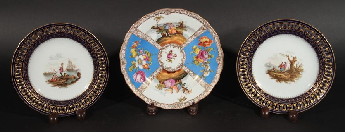 GROUP OF 3 HAND PAINTED MEISSEN PORCELAIN PLATES