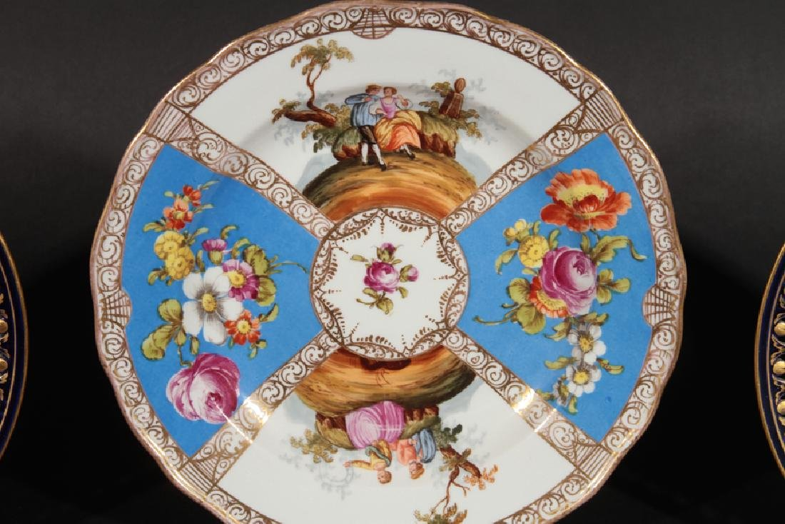 GROUP OF 3 HAND PAINTED MEISSEN PORCELAIN PLATES - 2